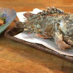 沼津で釣ったカサゴの唐揚げ