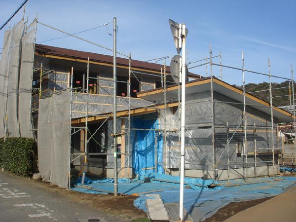 沼津で、癒しの美容室のある木の家、木工事が進んでいます。