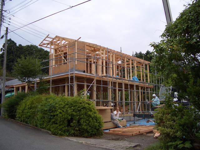 森林認証(SGEC)の家。富士山檜輝(ひのき)の家上棟
