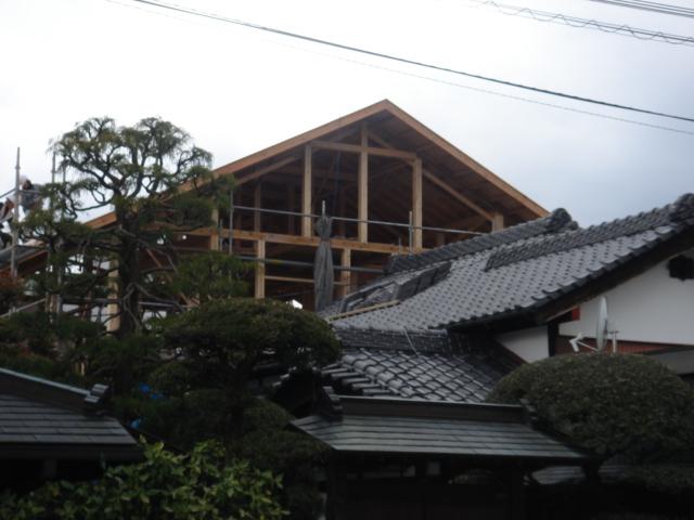 ご自身の山の木を使った長期優良住宅先導モデル、上棟